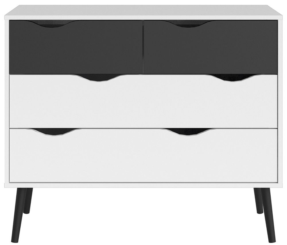 Oslo 4 Drawer Chest - White and Black Matt