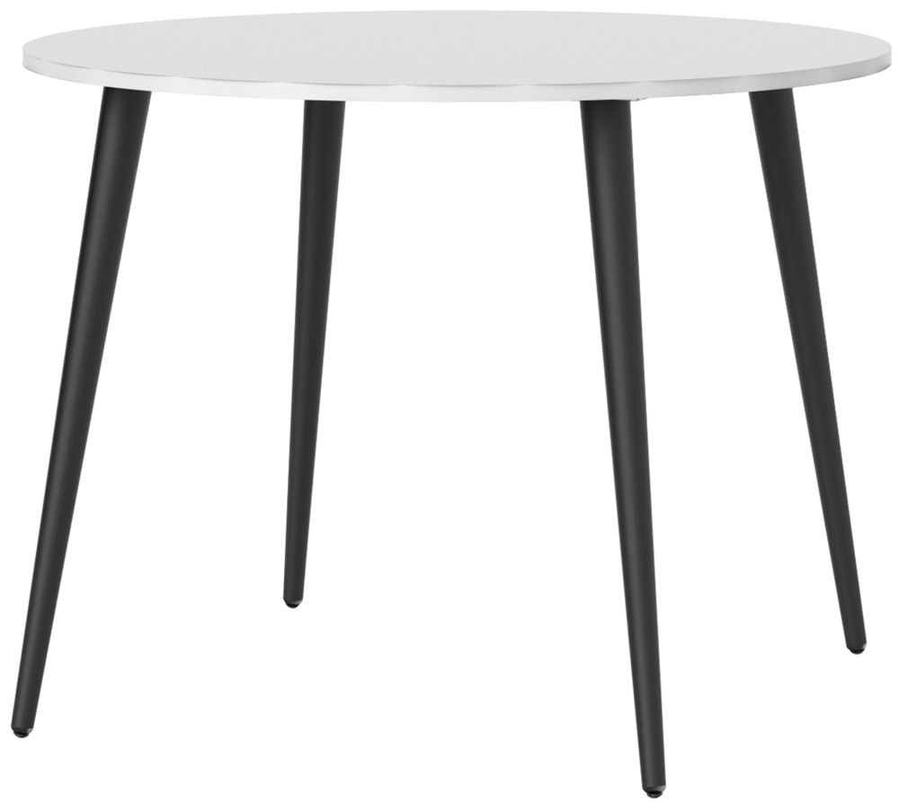 Oslo Round Dining Table - White and Black Matt