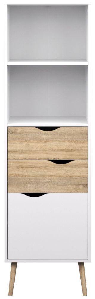 Oslo Bookcase - White and Oak