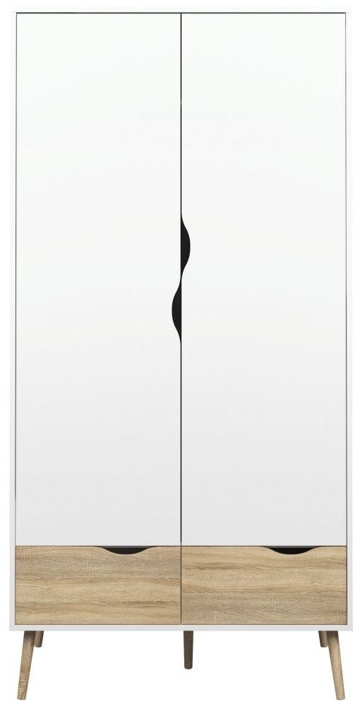 Oslo 2 Door Wardrobe - White and Oak