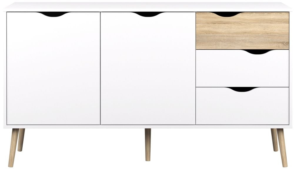Oslo Wide Sideboard - White and Oak