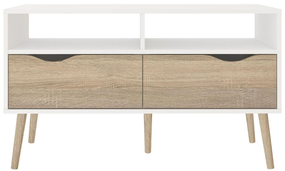 Oslo TV Unit - White and Oak