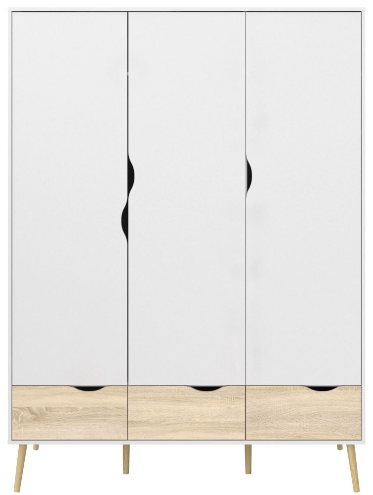 Oslo 3 Door Wardrobe - White and Oak