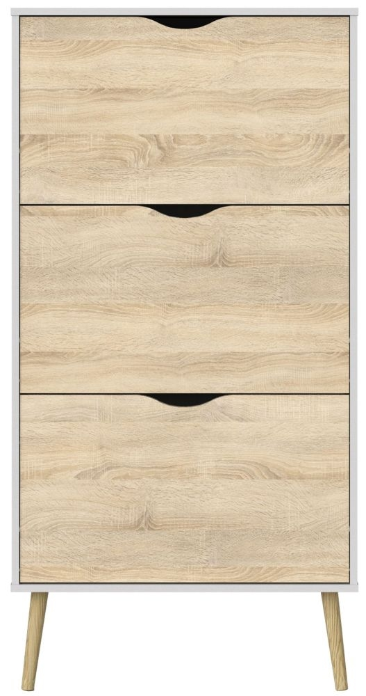 Oslo Shoe Cabinet - White and Oak