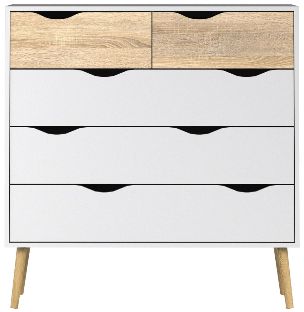 Oslo 5 Drawer Chest - White and Oak