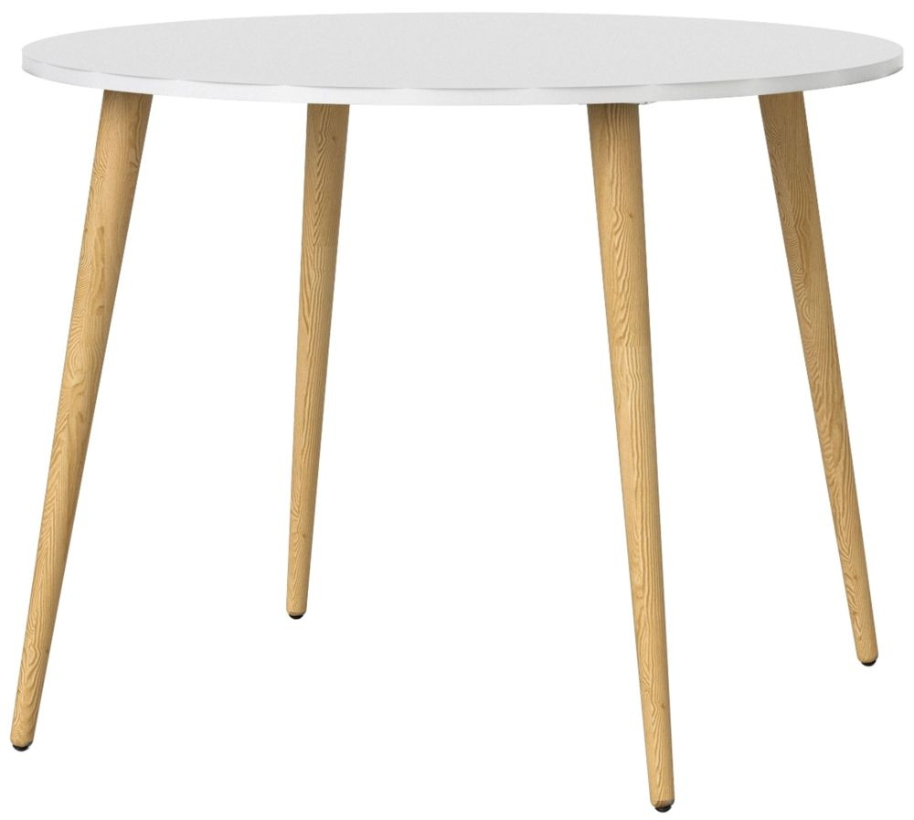 Oslo Round Dining Table - White and Oak