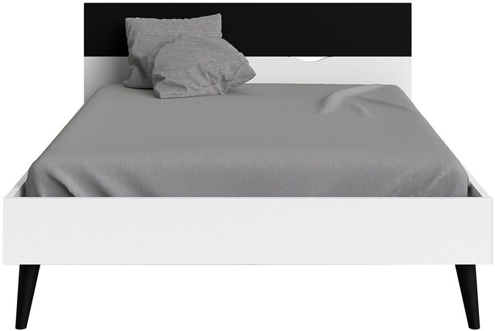 Oslo 4ft 6in Double Bed - White and Black Matt