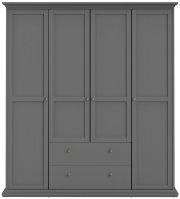 Paris Matt Grey 4 Door Wardrobe