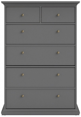 Paris Matt Grey 6 Drawer Chest