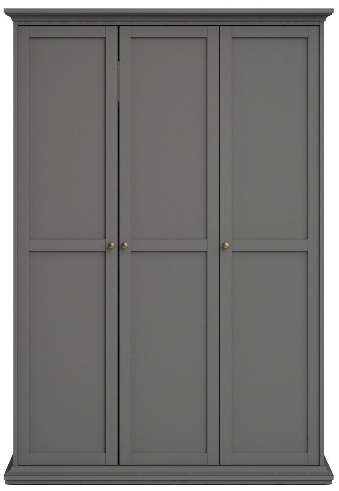 Paris Matt Grey 3 Door Wardrobe