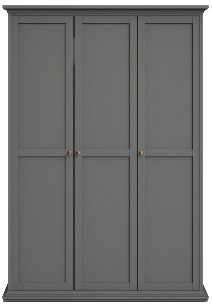 Product photograph showing Paris Matt Grey 3 Door Wardrobe