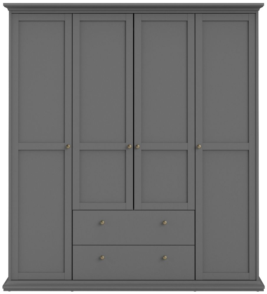 Paris Matt Grey 4 Door Wardrobe