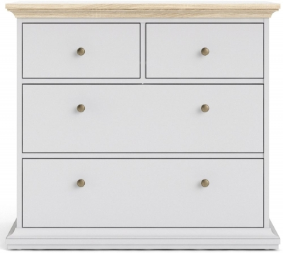 Paris Oak and White 2+2 Drawer Chest