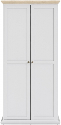 Paris Oak and White 2 Door Wardrobe