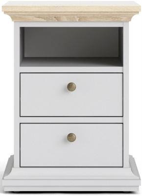 Paris Oak and White 2 Drawer Bedside Cabinet