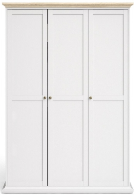 Paris Oak and White 3 Door Wardrobe