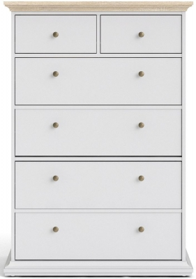 Paris Oak and White 4+2 Drawer Chest