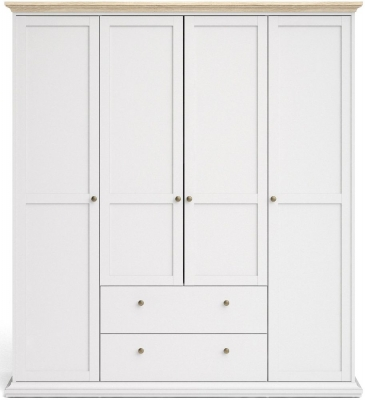 Paris Oak and White 4 Door 2 Drawer Wardrobe