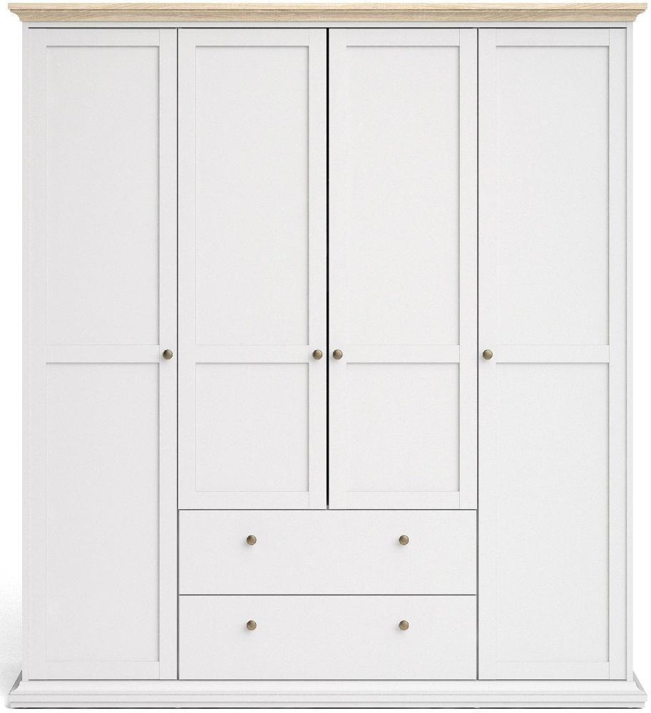 Paris Oak and White 4 Door 2 Drawer Wardrobe