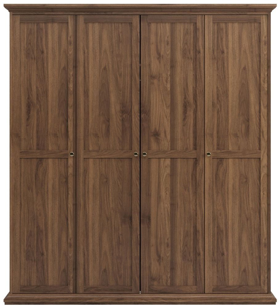 Paris Walnut 4 Door Wardrobe
