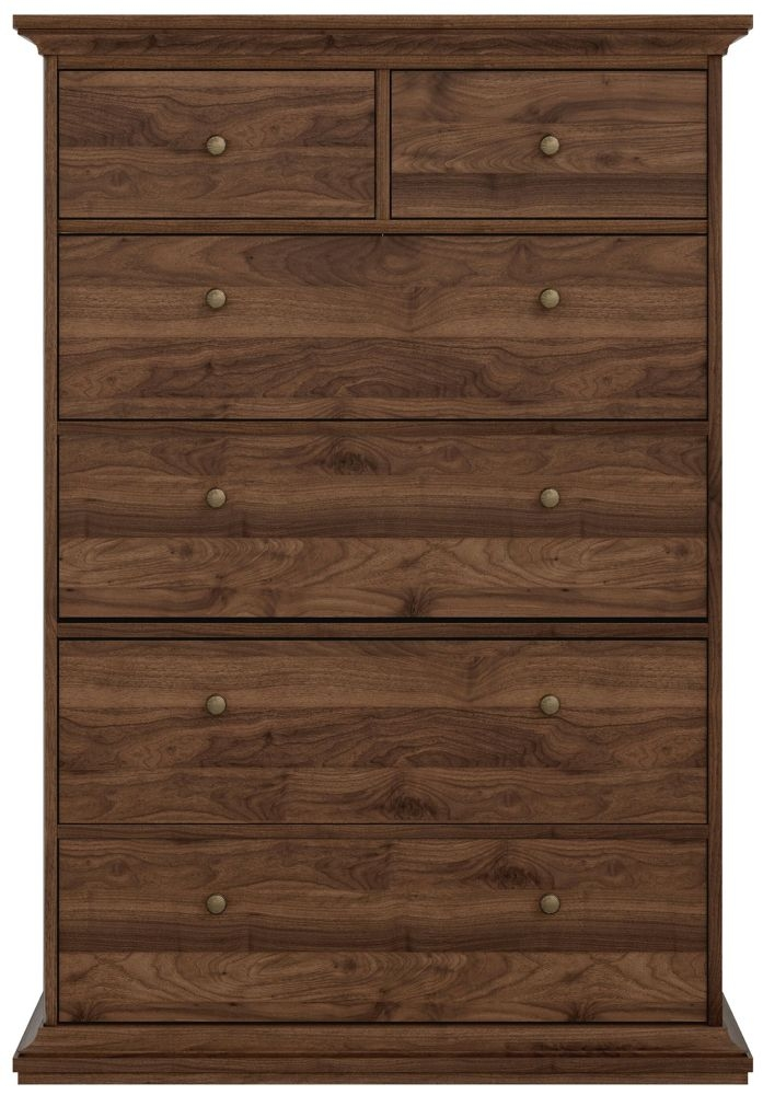 Paris Walnut 6 Drawer Chest
