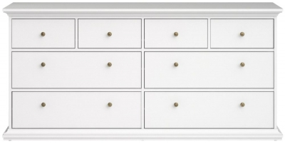 Paris White 8 Drawer Chest