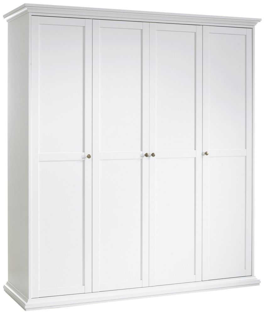 Paris White 4 Door Wardrobe