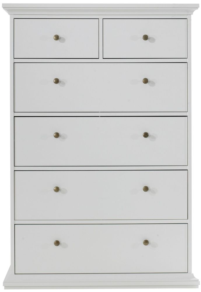 Paris White 6 Drawer Chest