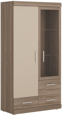 Park Lane Oak and Champagne Glazed Display Cabinet - 2 Door 3 Drawer