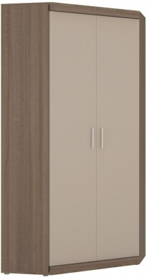 Park Lane Oak and Champagne Tall Cabinet - Corner
