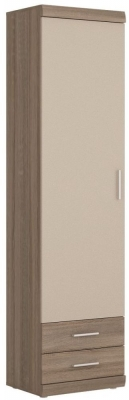 Park Lane Oak and Champagne Tall Cabinet - Narrow 1 Door 2 Drawer