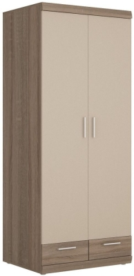 Park Lane Oak and Champagne Tall Cabinet - Wide 2 Door 2 Drawer