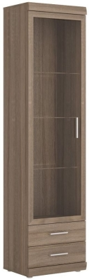 Park Lane Oak and Champagne Tall Glazed Cabinet - Narrow 1 Door 2 Drawer