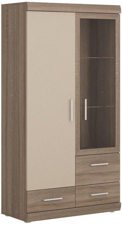 Park Lane Oak and Champagne Glazed Display Cabinet - 2 Door 3 Drawer