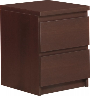 Pello Dark Mahogany Bedside Cabinet - 2 Drawer