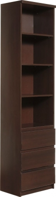 Pello Dark Mahogany Bookcase - Tall Narrow 3 Drawer