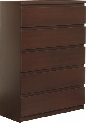 Pello Dark Mahogany Chest of Drawer Wide 5 Drawer