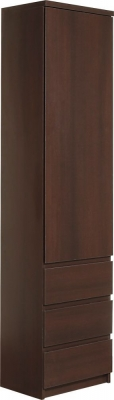 Pello Dark Mahogany Cupboard - Tall Narrow 1 Door 3 Drawer