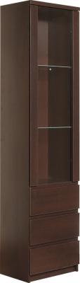 Pello Dark Mahogany Glazed Display Cabinet - Tall Narrow 1 Door 3 Drawer