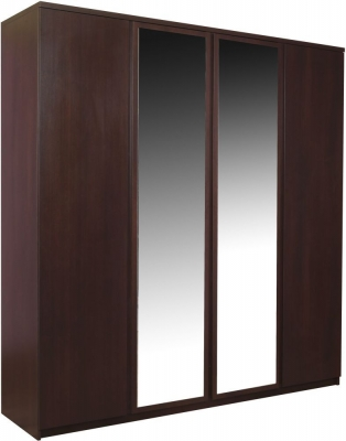 Pello Dark Mahogany Wardrobe - 2 Mirror Door