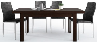 Pello Extending Dining Table and 4 Milan Black Chairs - Dark Mahogany