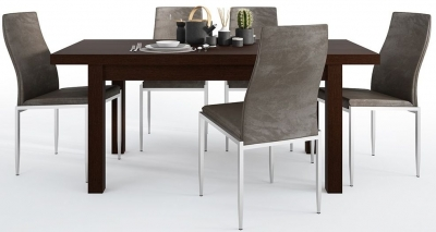 Pello Extending Dining Table and 4 Milan Dark Brown Chairs - Dark Mahogany