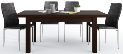 Pello Extending Dining Table and 6 Milan Black Chairs - Dark Mahogany
