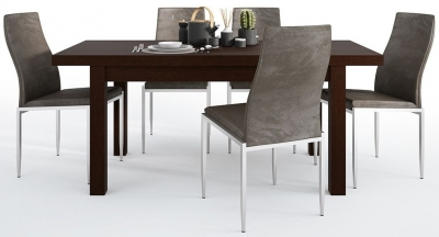 Pello Extending Dining Table and 6 Milan Dark Brown Chairs - Dark Mahogany