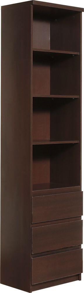 Pello Dark Mahogany Bookcase - Tall Narrow 3 Drawer
