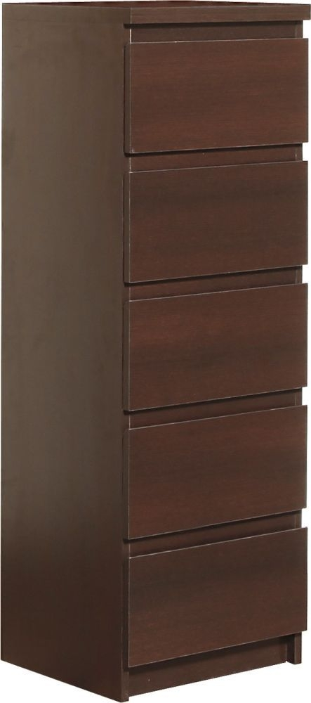 Pello Dark Mahogany Chest of Drawer - 5 Drawer Narrow