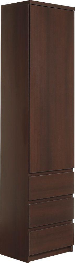 Pello Dark Mahogany Cupboard - Tall Narrow 1 Door 3 Drawer