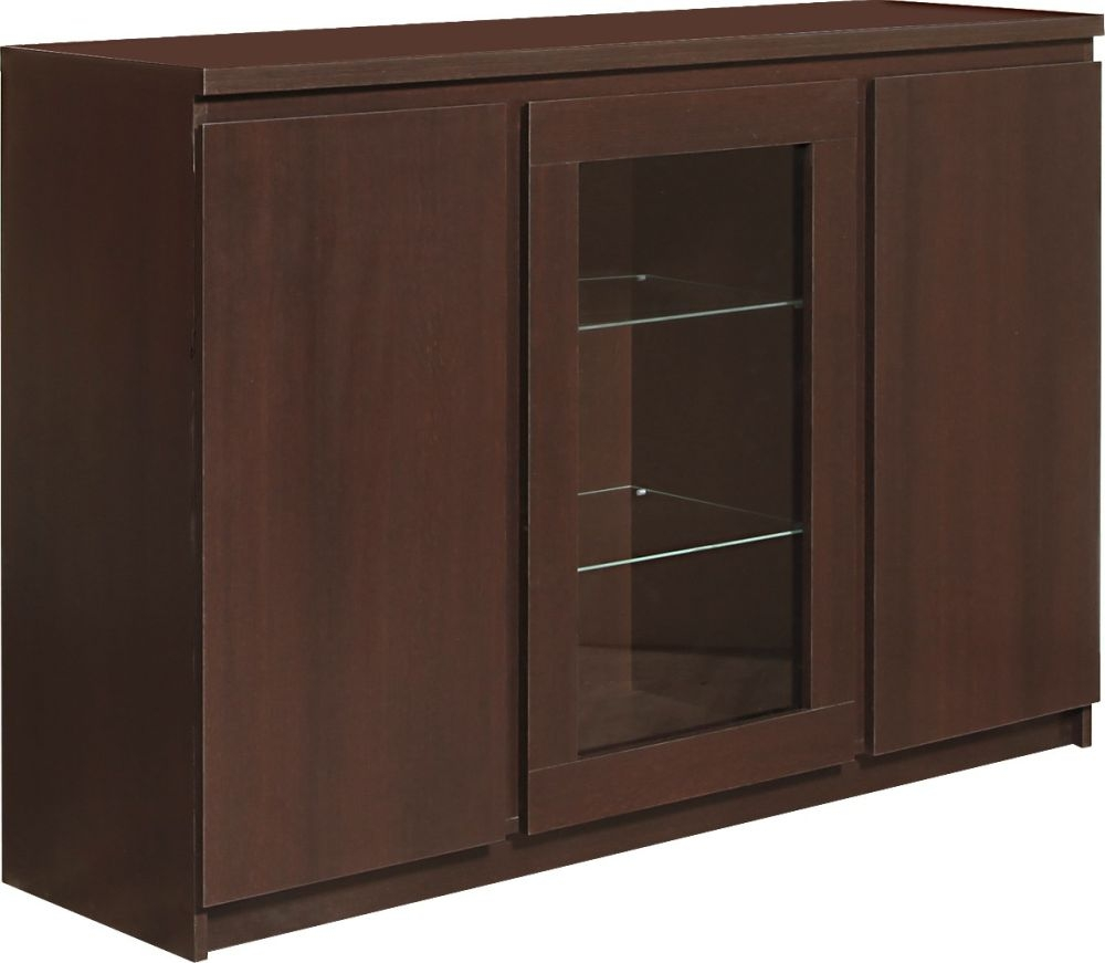 Pello Dark Mahogany Sideboard - 3 Door Glazed Center
