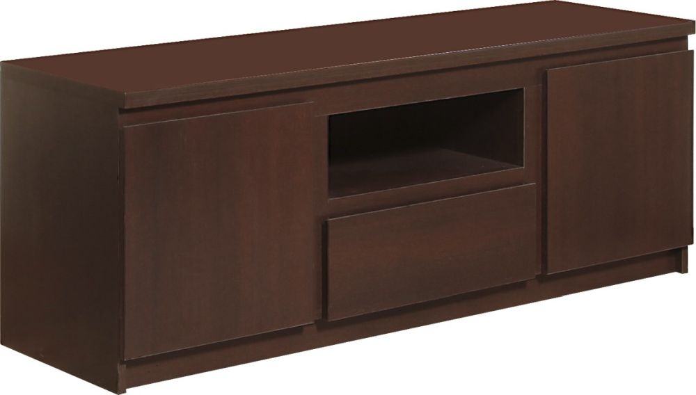 Pello Dark Mahogany TV Cabinet - 2 Door 1 Drawer