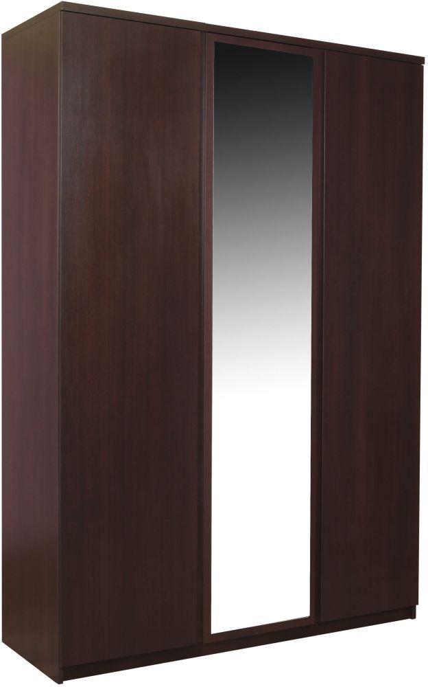 Pello Dark Mahogany Wardrobe - 3 Mirror Door